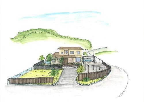 広いアプローチと曲線フェンスのある家3