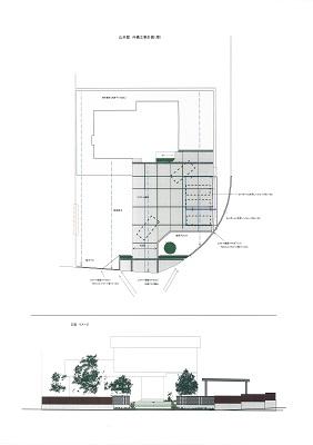 広いアプローチと曲線フェンスのある家設計